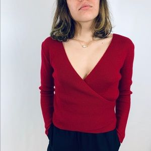 Top shop red knit blouse